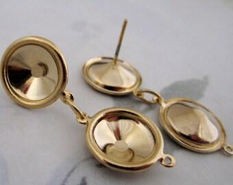 6 pcs. (3 pair) gold tone rivoli rhinestone pierced earring settings 11mm - f4157