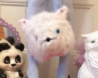 White Cat Head Purse
