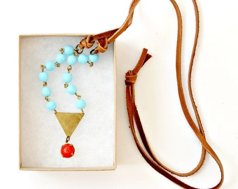 Aqua Bead Chain Necklace, Leather and Aqua Bead Necklace