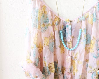 Long Pale Aqua Beaded Strand Necklace