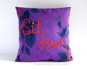 Sit down cushion word pillow orange embroidered ribbon lettering purple vintage floral cotton and denim cover memake handmade home decor