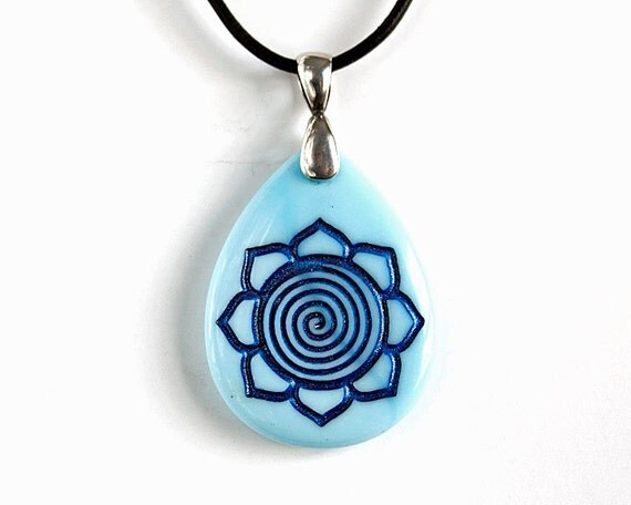 Blue Spiral Lotus Necklace - Etched Glass Pendant - Purity of Mind, Body & Soul
