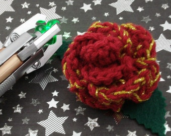 Clara Oswin Oswald - Crocheted Rose Barrette - Dark Red and Gold (SWG-HB-DWCO01)