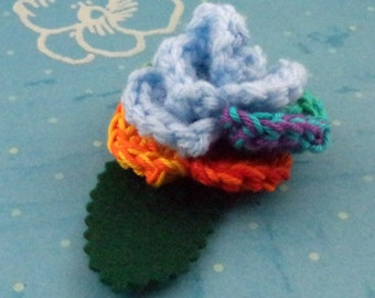 Crocheted Rose Bar Pin - Light Blue and Rainbow (SWG-PS-MPRD02)