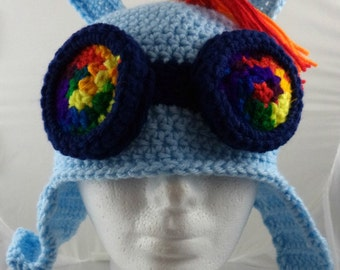 Crocheted Pony Aviator's Helmet in Light Blue with Rainbow Goggles and Hair (made to order)