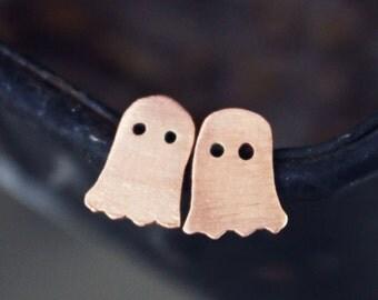 Halloween ghost earrings, halloween jewelry, copper sterling silver posts studs