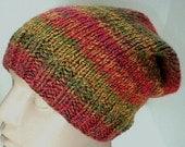 Slouchy hat, green, gold, burnt orange, brown, tweed, striped hat, women's hat, men's hat, knit hat, slouchy beanie, toque, ski snowboard
