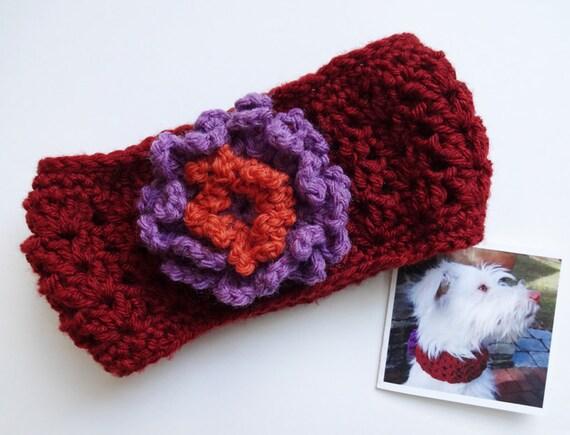 Items similar to Knit Dog Collar Crochet Dog Cowl Scarf Flower Cinnamon 14 in...