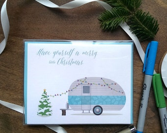 Have Yourself a Merry Little Christmas--Christmas Camper Card: single or boxed set