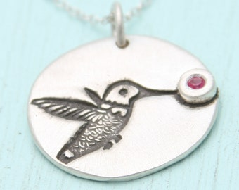 HUMMINGBIRD pendant with RUBY, sterling silver or gold vermeil, illustration by BOYGIRLPARTY. Handcrafted by Chocolate and Steel