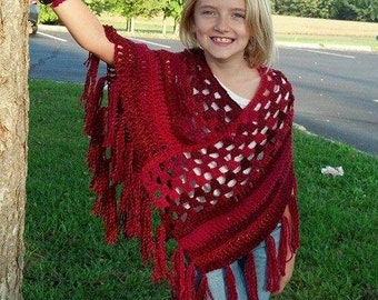 PDF Crochet Pattern for Quick and Easy Poncho for Teens and Adults