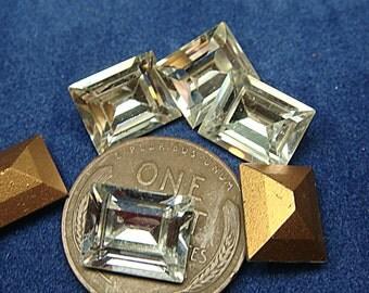 RECTANGLE RHINESTONES Vintage SWAROVSKI Austria  8 mm x 10 mm Lot of (10) Glass  Rectangle  jc 810rectsw  Gold Foil Back  MoRE AVAlLABLE