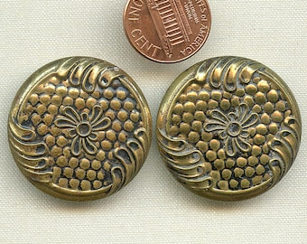 Antique Pair Matching Metal Buttons Pair of Large 1 1/4 inch size 9422