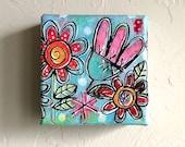 Original Mini Mixed-Media Darling Tiny Garden Series no. 11 Painting