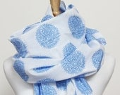 SALE Organic Cotton Voile Scarf - Periwinkle Agapanthus