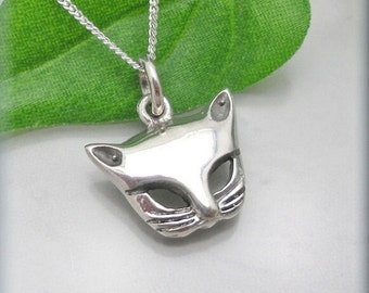 Silver Cat Necklace Pendant Kitten Jewelry Sterling Silver Cat Lover (SN758)