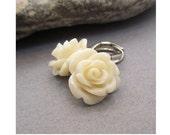 SALE, Ivory Rose Earrings, Carved Rose Earrings, Gifts for Her, Flower Jewelry, Drop Earrings, Dainty Floral Jewelry, Pretty Earrings