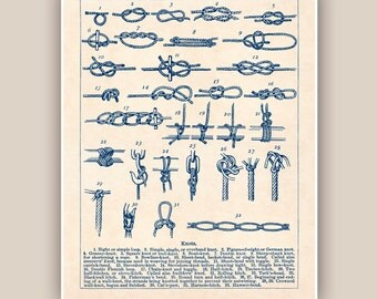Sailor Knots Print, Nautical knots, Marine Knots Poster, Sailing club, Sail centers, Seaside Prints, Marine Wall Decor, Nautical art, 11x14