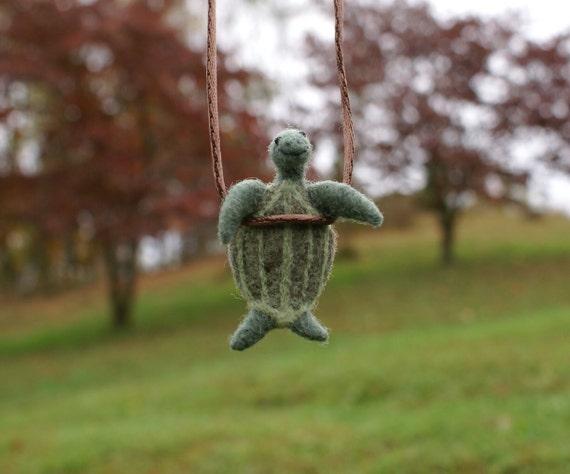 Tiny Leatherback Turtle Necklace - needle felted