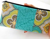 Zipper Pouch ECO Friendly Padded Double Teal Tiles NEW