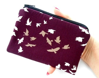 Little Zipper Pouch Coin Purse ECO Friendly Padded NEW Plum Winged Birds