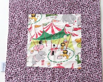 Vintage Circus Leopard Baby Blanket  - Animal Print  Blanket - Travel Blanket - Circus Minky Blankets - Pink Girl Blanket