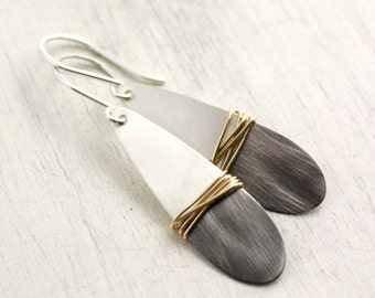 Dipped Silver Teardrop with Gold Wire Wrap Earrings