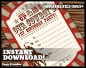 Cowboy Theme Boy 1st Birthday Invitation Fill In the Blank Cowboy First Birthday Country Western Old West Party Digital Printable Rodeo Red