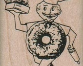 Rubber stamp man Donut Man With Donuts retro  wood Mounted  scrapbooking supplies 12449