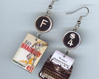 Book Typewriter quote Earrings - Fahrenheit 451 Book Ray Bradbury - mismatched earrings designs by Annette - bookish readers librarian gift