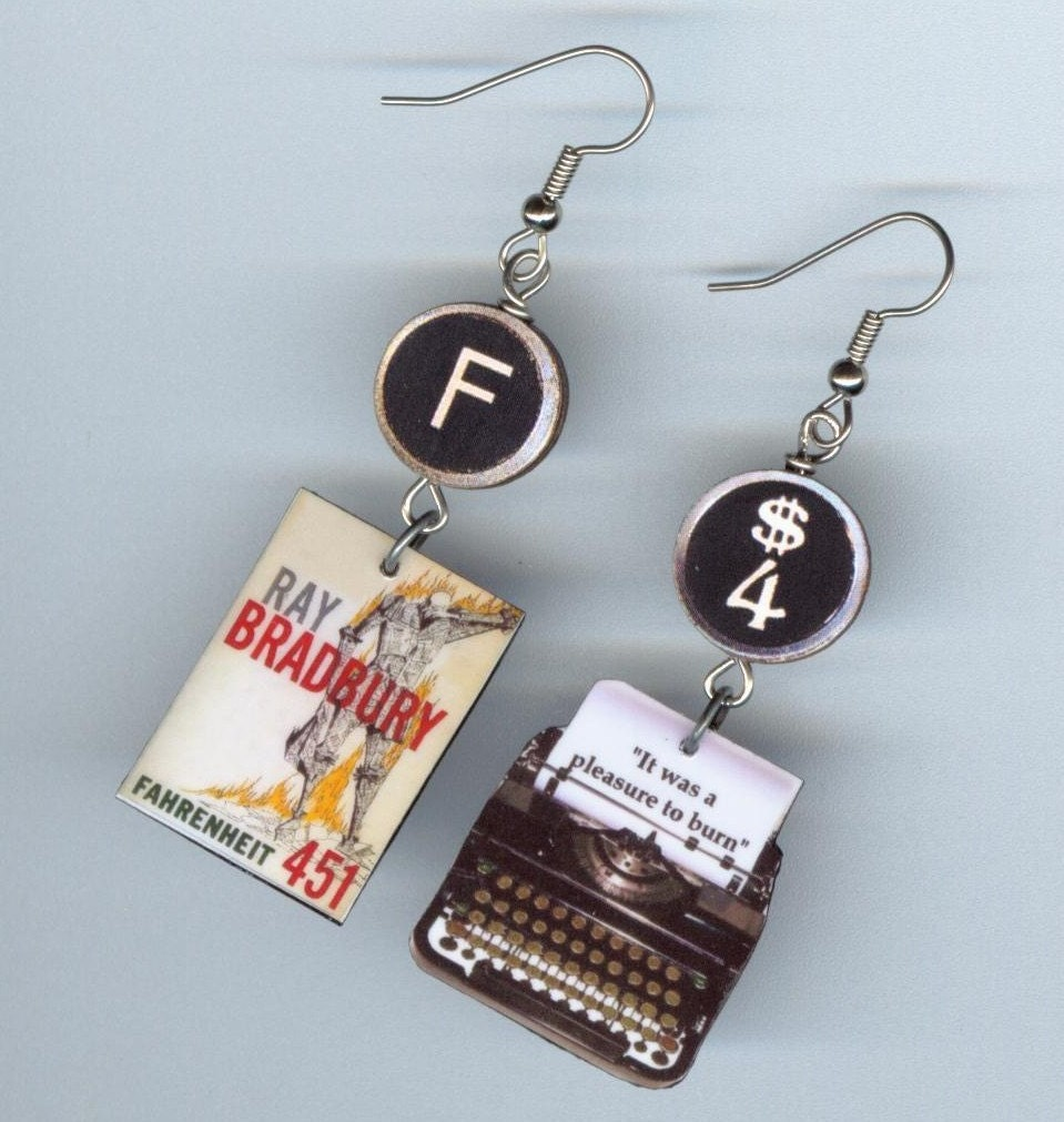 book typewriter quote earrings fahrenheit 451 book