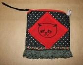 Red and black polka dot kitty bag, makeup,silkscreen,ruffle