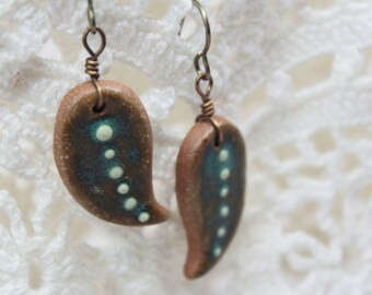 Hand Sculpted Ceramic Earrings - Natural Brass - Dew Drop Leaves