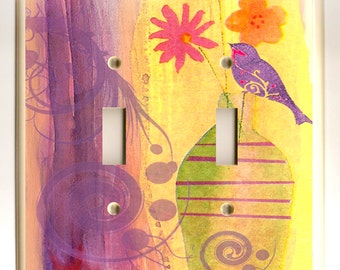 Flowers in Vase with Purple Bird and Swirl - Double Light Switch Plate - Yellow, Purple, Pink and Orange