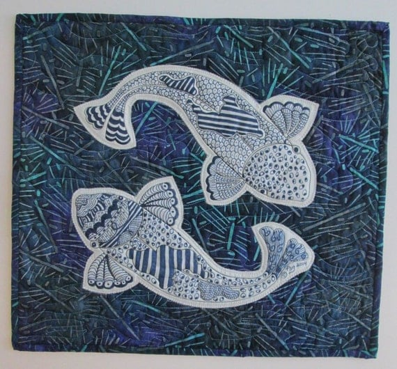Koi fish wall hanging zentangle quilted free shipping w for Koi wall hanging