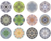 Nature Mandalas Mini Portfolio, Abstract Art, Affordable Art, Peaceful, Geometric, 5x5 Print Set, Nature Inspired Art, 5x5 Photo Set