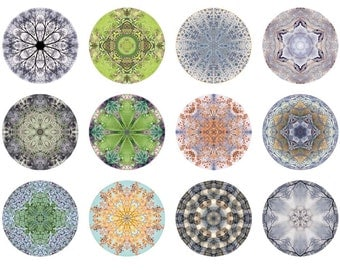 Nature Mandalas Mini Portfolio, Abstract Art, Affordable Art, Peaceful, Geometric, 5x5 Print Set, Nature Inspired Art, 5x5 Photo Set
