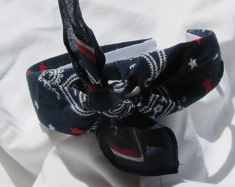 Red White And Blue Knot Tied Headband Bandanna Headwrap Hair Band