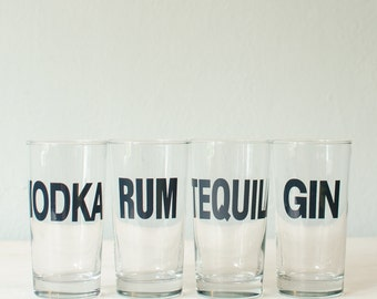 SALE Tequila glass - charcoal gray typography on hand printed collins glass