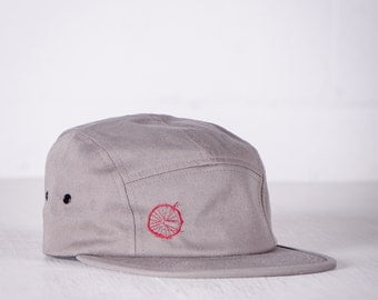 BIKE WRECK! Bicycle embroidered 5 Panel Cap, Raspberry on Grey- 011