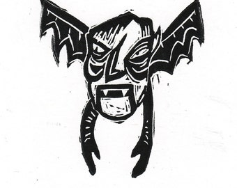 Flying Vampire Cute Black and White Creepy Linocut Original Hand Printed Art