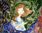 Night Lotus, Original painting by Cat Mallard