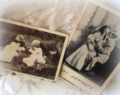 antique postcards postmarked 1907 and 1908 . my affinity and stolen kisses . romantic postcards