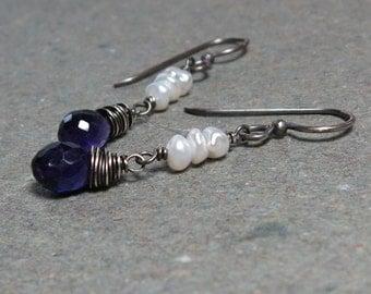 Purple Amethyst Earrings February Birthstone Earrings White Keshi Pearl Earrings Oxidized Sterling Silver Earrings