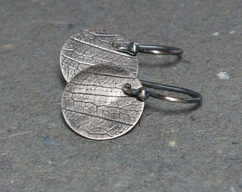 Leaf Pattern Earrings Minimalist Earrings Sterling Silver Earrings Oxidized Textured Earrings