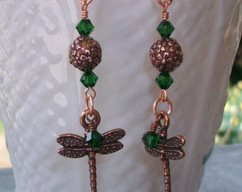 Swarovski Crystal Bead and Copper Dragonfly Dangle Earrings     SRAJD     handmade  holiday fall    trend  birthday  gift