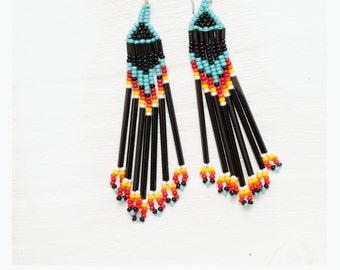 seed bead earrings - black, turquoise, red, yellow, orange - ocean's edge