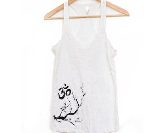 white yoga tank top - burnout fabric - om and cherry blossom