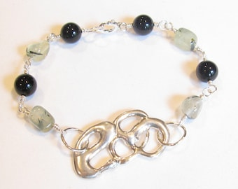 Abstract Sterling Silver, Onyx and Prenite Bracelet