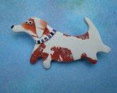 Dachshund Doxie Brooch Pooch© pin in Polyer Clay by darbella designs
